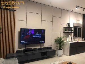 מיקרוטופינג מעוצב ודקורטיבי לעיצוב מושלם של הסלון עם הטלוויזיה והמזנון. צילום: אורן שם טוב